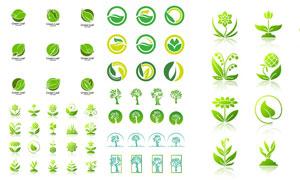 绿叶元素装饰变化组合标志矢量素材