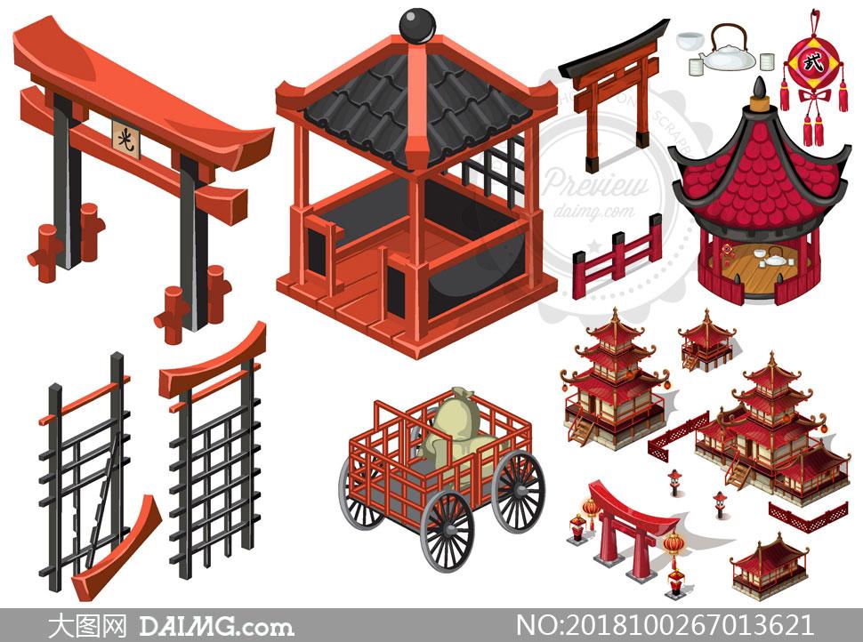 日式风格牌坊与亭子等建筑矢量素材