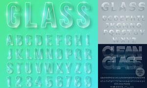 质感透明玻璃材质英文字母矢量素材