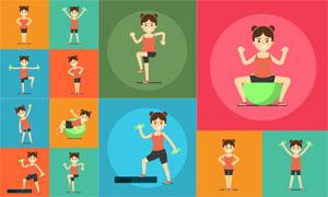 减肥瘦身运动女孩人物主题矢量素材