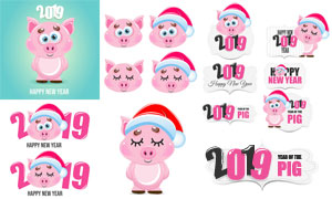 戴圣诞帽的粉红猪创意设计矢量素材