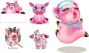 可爱风格卡通粉红小猪创意矢量素材