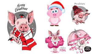 拟人可爱的卡通粉红猪创意矢量素材