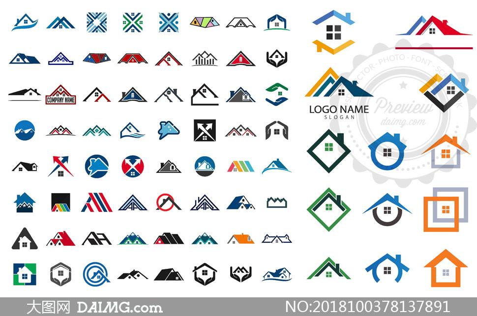 房屋轮廓图形元素标志设计矢量素材