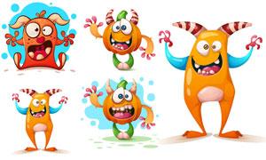 万圣节的卡通南瓜怪兽创意矢量素材