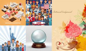 巧克力与水晶球等创意设计矢量素材