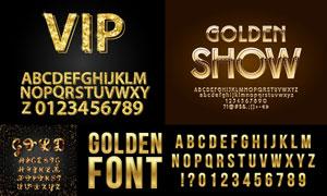 金色立体效果字母数字创意矢量素材
