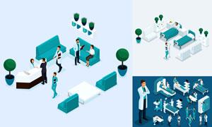 医生护士与医院环境等创意矢量素材