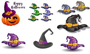 几种颜色的魔法帽主题设计矢量素材