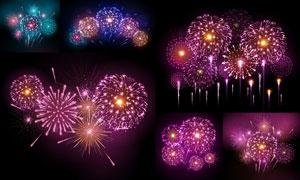 夜空中璀璨的烟花创意设计矢量素材