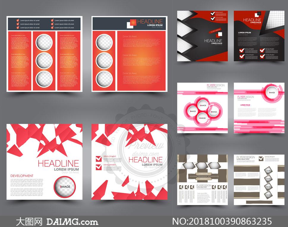 圆环等元素宣传单版式设计矢量素材         传单画册页面