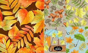 四方连续秋天树叶背景矢量素材V05