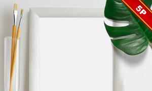 画笔绿叶点缀的装饰画贴图分层模板