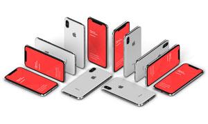 不同角度摆放iPhoneX贴图模板源文件