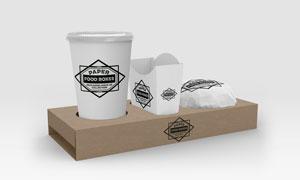 食物外带用包装盒应用贴图分层模板