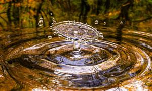 掉落水面上的水滴创意摄影高清图片