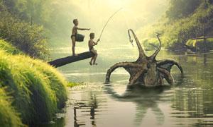 钓到一只八爪鱼的儿童创意设计图片