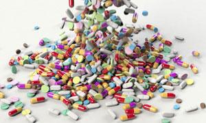 散落的五颜六色药品等摄影高清图片