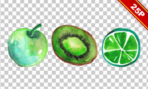 西瓜苹果与柠檬等水彩水果免抠素材