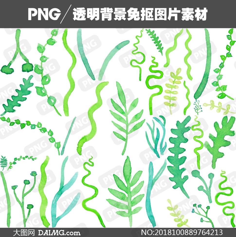 免抠元素png元素免扣素材水彩素材手绘素材曲线线条绿叶叶子植物藤蔓