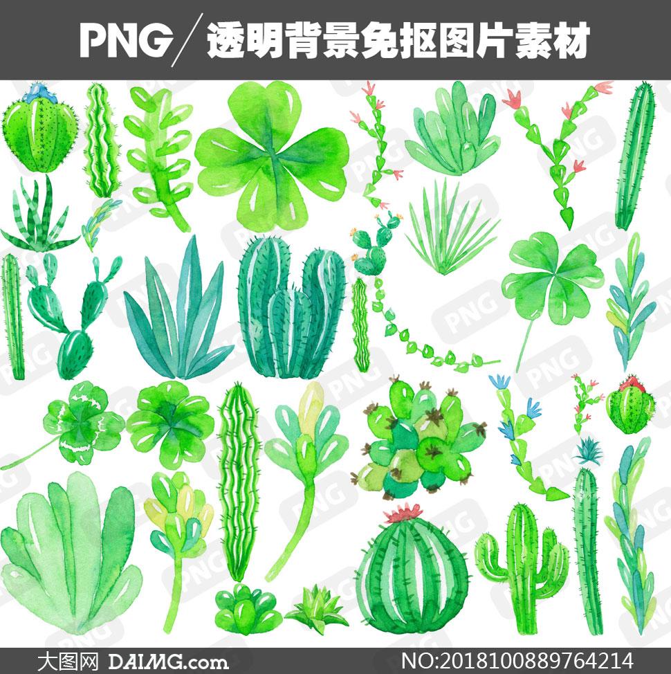 多款水彩抽象几何图形设计免抠素材         手绘绿色线条与植物