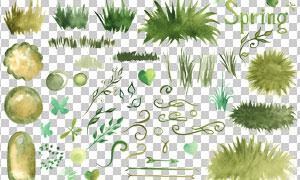 水彩春天里的草丛树叶免抠图片素材