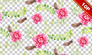 四方连续无缝拼接水彩花朵图案素材