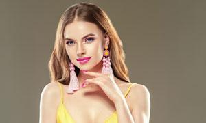 吊带装扮妆容美女人物摄影高清图片