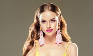流苏耳饰美女人物写真摄影高清图片