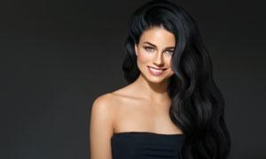 开心笑容红唇黑发美女摄影高清图片