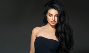 黑色抹胸乌黑秀发美女摄影高清图片