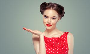圆点图案服饰美女人物摄影高清图片