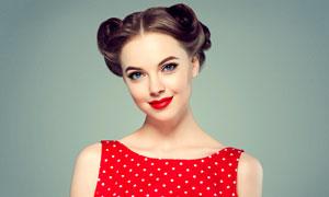 红唇盘发造型美女人物摄影高清图片