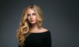 披肩金发妆容美女人物模特高清图片