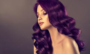 紫色秀发忧郁美女人物摄影高清图片