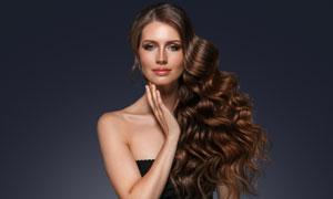 波浪卷发发型模特人物摄影高清图片