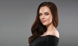 黑色装扮卷发美女人物摄影高清图片