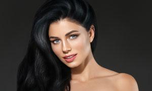浓密黑发妆容美女人物摄影高清图片