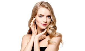 在做着手势的金发美女摄影高清图片