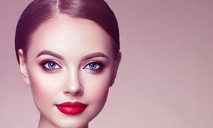 浓妆打扮盘发造型美女摄影高清图片