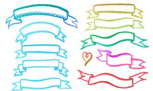 手绘效果飘带主题设计元素矢量素材