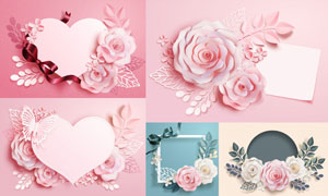 心形与立体质感的花朵边框矢量素材