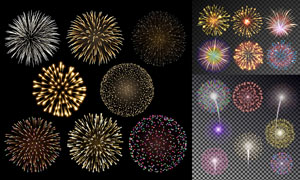 节日庆典适用的璀璨烟花矢量素材V02