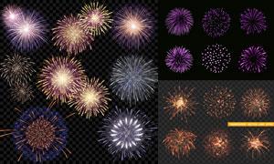 节日庆典适用的璀璨烟花矢量素材V04