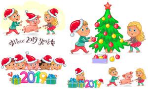 圣诞节与2019新年主题卡通矢量素材