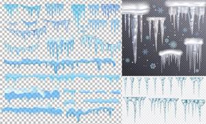 逼真质感晶莹剔透冰柱主题矢量素材