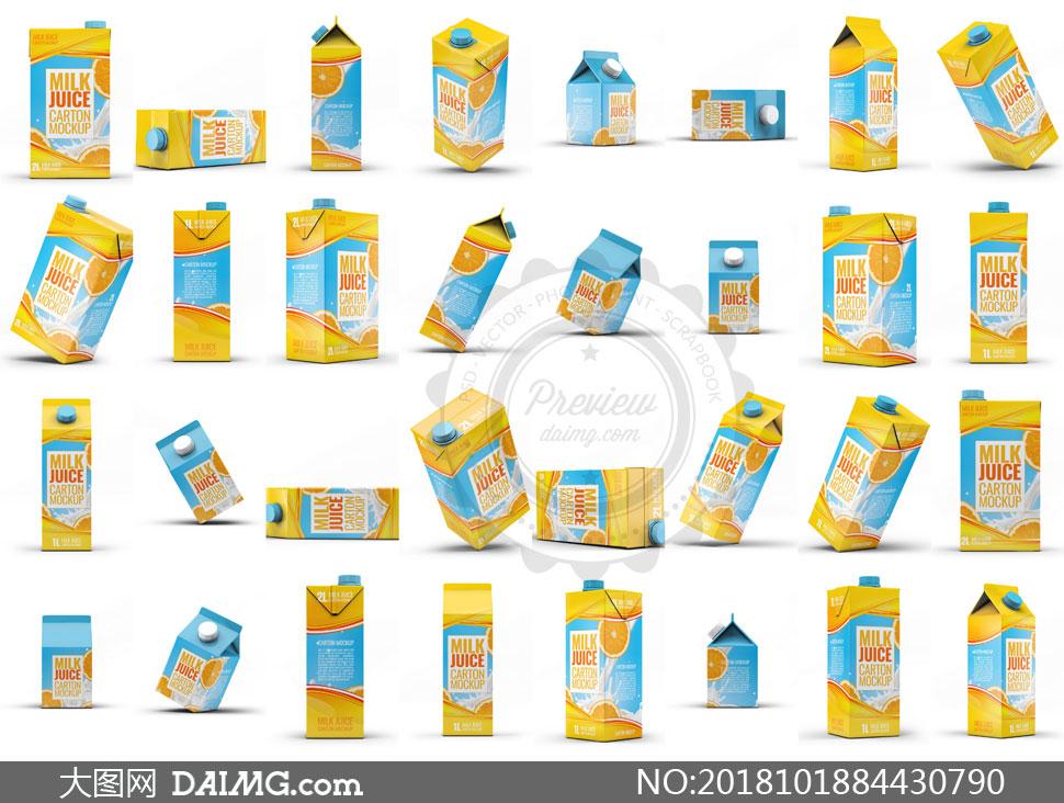 四种不同容量的牛奶包装贴图源文件