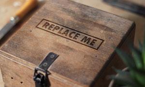 木箱上盖上的文字贴图模板分层素材