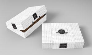 甜甜圈食品包装盒图案应用效果模板