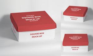 三种视角展示的包装盒贴图模板素材